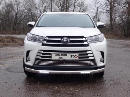 Toyota Highlander 2017-Защита передняя нижняя (овальная с ДХО) 75х42 мм